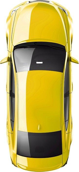 نگاهی از بالا به خودرویی زرد رنگ برای خدمات کمپانی اطلس در تهران ایران